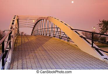 pont, sur, conduire, lac, piéton, rivage