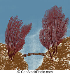 pont, sur, forêt, ravin