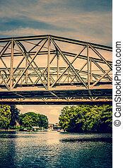 pont, sur, lac