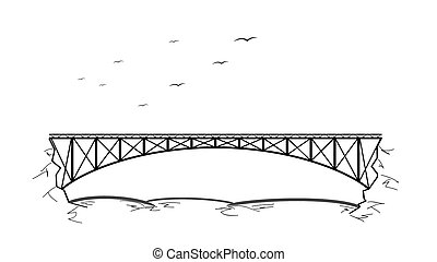 pont, sur, les, rivière