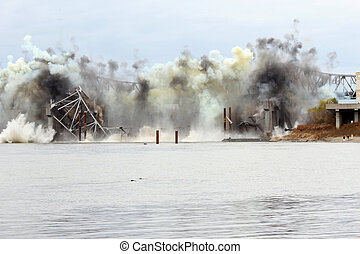 pont, sur, missouri, blanchette, rivière, démolition