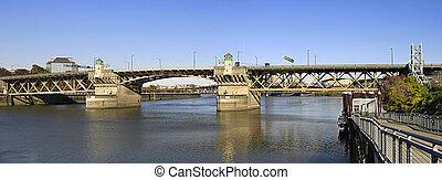 pont, sur, orégon, willamette, portland, rivière, burnside