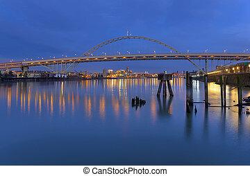 pont, sur, rivière, fremont, willamette
