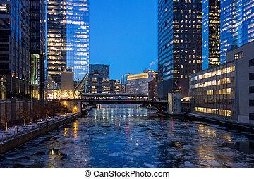 pont, sur, rivière, glacé, chicago