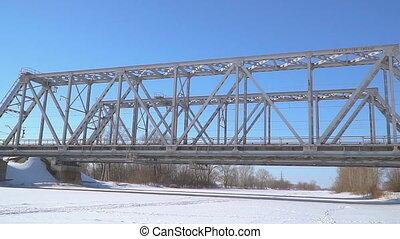 pont, sur, rivière, hiver, ferroviaire