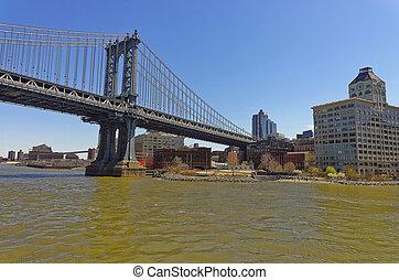 pont, sur, rivière, manhattan, est