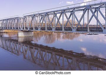 pont, sur, rivière, printemps