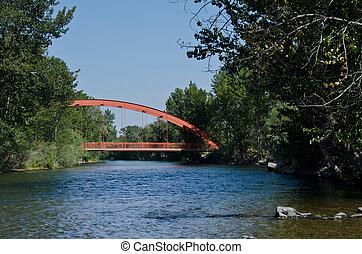 pont, sur, rivière, rouges, étendre