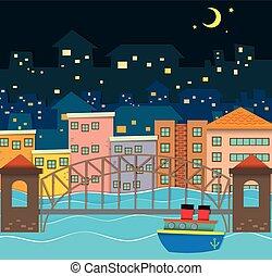 pont, sur, rivière, scène, nuit
