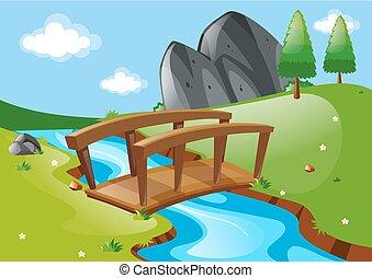 pont, sur, rivière, scène
