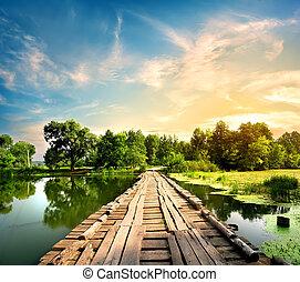 pont, sur, rivière, vieux