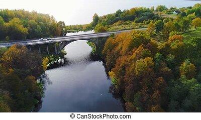 pont, sur, rivière, vue aérienne