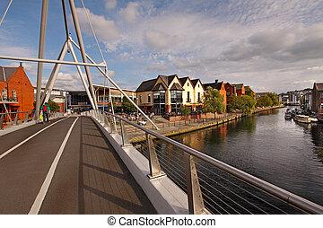 pont, sur, rivière, wensum