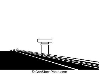 pont, sur, route