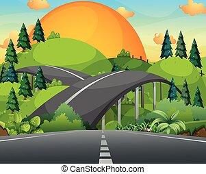 pont, sur, route, montagnes
