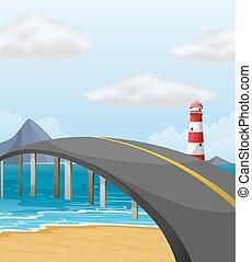pont, sur, scène, océan