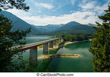 pont, sur, sylvensteinsee, lac