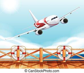 pont, sur, voler, scène, avion