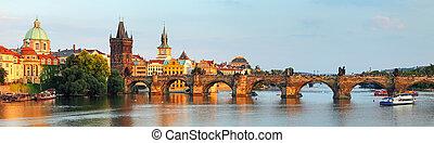 pont, tchèque, panorama, charles, prague, république