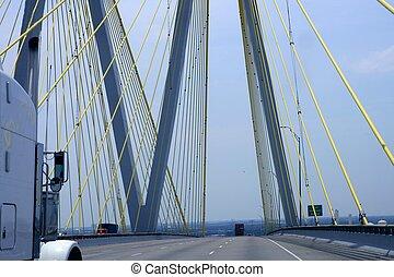 pont, texas, camion, détail, câble