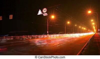 pont, timelapse, trafic, n