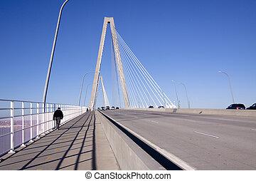 pont, trafic, piétons
