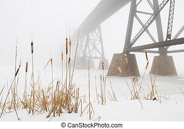pont,  train, brouillard, perdu