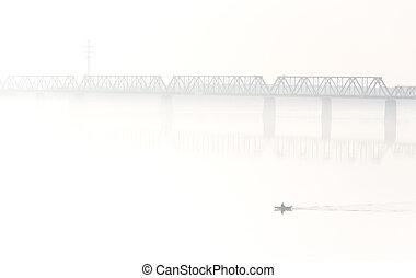 pont,  train, brouillard