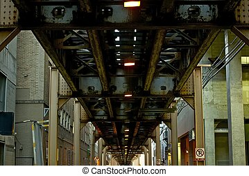 pont, train, chicago