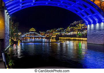 pont, tuojiang, sur, fenghuang, nuit, rivière