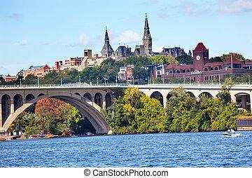 pont, université georgetown, washington dc, potomac, clã©, rivière