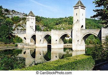 the bridge spanning the river Lot at Cahors France landmark