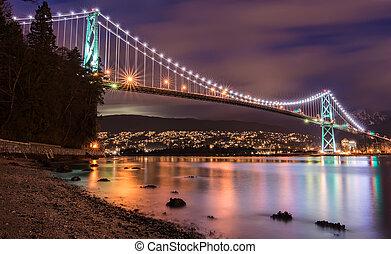 pont, vancouver, lions, portail, nuit