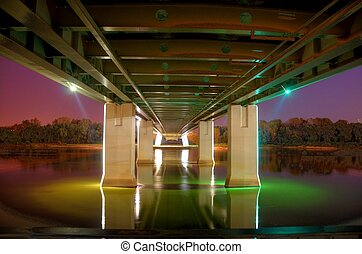 pont, varsovie, nuit