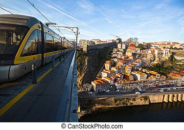 pont, vieille ville, dom, portugal., fer, porto, luis
