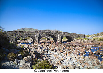 pont, vieux, ecosse, sligachan, skye, île