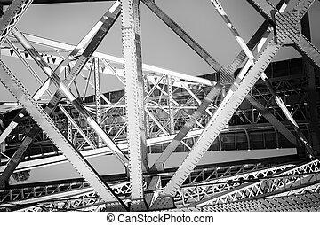 pont, vieux, fer, structure