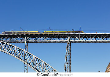 pont, vieux, métro, fer, oporto