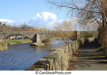 pont, vieux, musselburgh, sur, rivière, esk