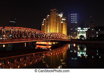 pont, vieux, shanghai, porcelaine, fer, night.