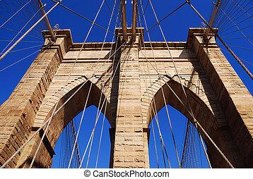 pont, ville, brooklyn, closeup, york, nouveau