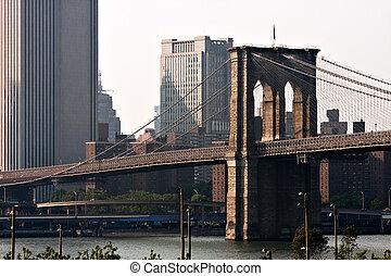 pont, ville, célèbre, brooklyn, york, nouveau