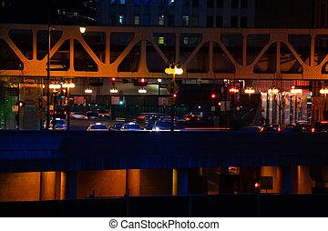 pont, ville, chicago, lac, rue, nuit, vue