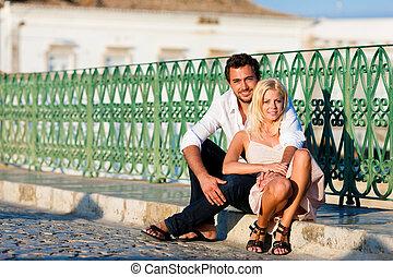 pont, ville, couple, -, vacances, tourisme