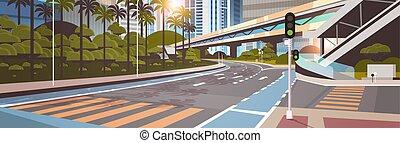 pont, ville, gratte-ciel, urbain, moderne, plat, rue, route, fond, cityscape, chemin fer, horizontal, autoroute, métro
