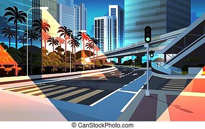 pont, ville, gratte-ciel, urbain, moderne, plat, rue, route, fond, nuit, cityscape, chemin fer, horizontal, autoroute, métro
