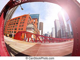 pont, ville, image, chicago, en ville, fisheye