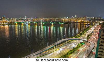pont, ville, séoul, traff, autoroute