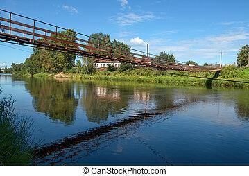 pont, ville, sur, msta, day., borovichi, été, suspension, rivière, russie