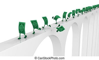 pont, vivant, course, espèces